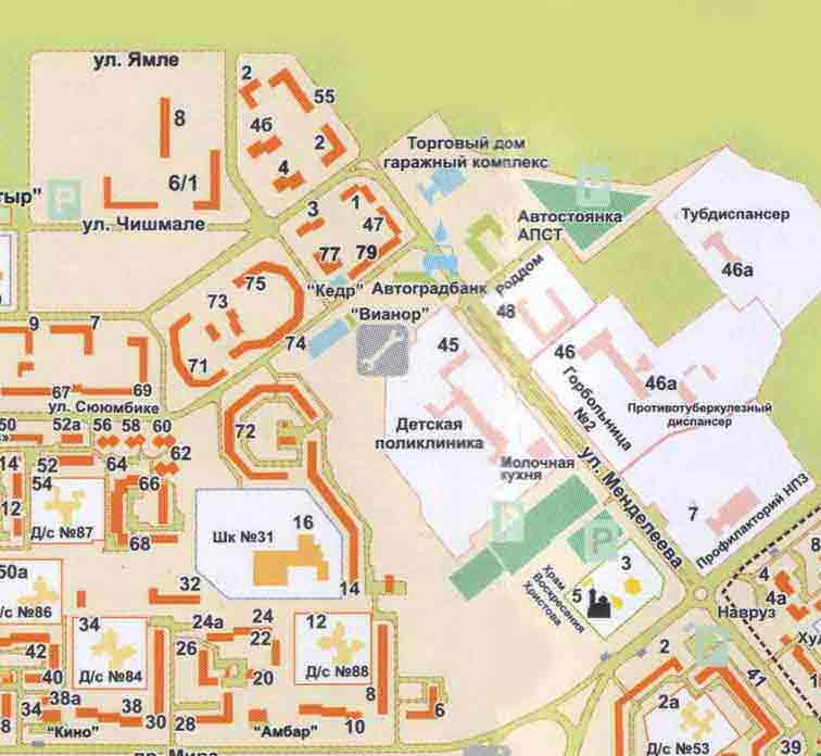 Карта Промзоны Нижнекамска